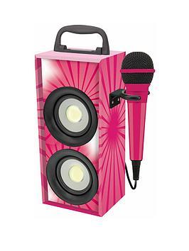 lexibook-mini-bluetooth-karaoke-tower-with-microphone-pink