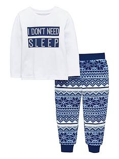 mini-v-by-very-girls-i-dont-need-sleep-fairisle-fleece-pyjamas-multi