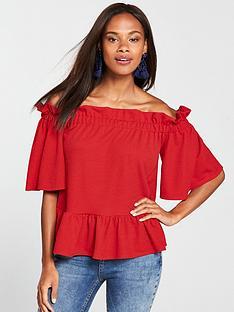 v-by-very-bardot-top-red