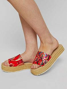 miss-selfridge-espadrille-slide-flatform-red-print