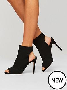 miss-selfridge-knitted-peep-toe-boot-black