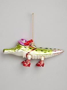 gisela-graham-painted-glass-alligator-christmas-tree-decoration