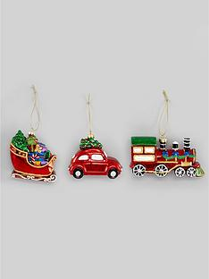 gisela-graham-novelty-car-sleigh-amp-train-christmas-tree-decorations-set-of-3