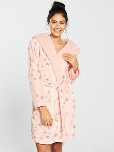 v-by-very-all-over-star-foil-print-shearling-dressing-gown-peach-rose-gold
