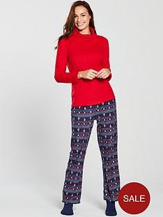V by Very Fleece Pyjamas and Sock Gift Set - Red Fairisle fc5d9f9a4