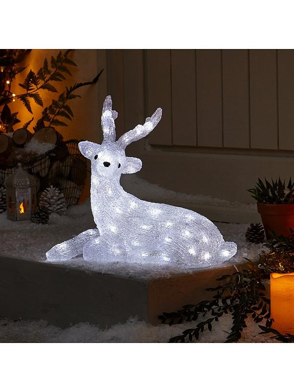 Light Up Outdoor Christmas Decorations.Spun Acrylic Light Up Reindeer With Antlers Outdoor Christmas Decoration