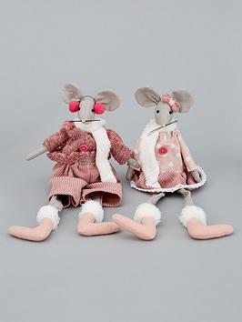 pinkgrey-dangly-leg-mice-christmasnbspdecorations-set-of-2