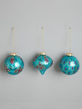glass-peacock-christmas-baubles-set-of-3