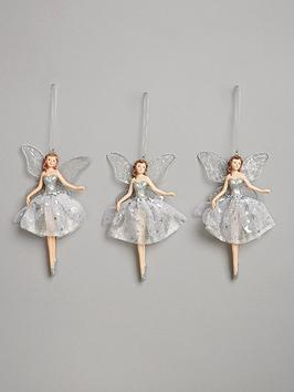Very Silver Fairy Hanging Christmas Tree Decorations (3 Pack) Picture