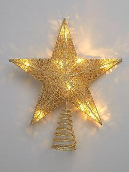 Product photograph showing Gold Light-up Star Christmas Tree Topper