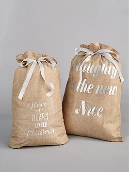 hessian-christmas-sacks-with-silver-text-set-of-2