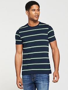 8416214885f V by Very Mens Yarn Dyed Stripe T-Shirt - Navy