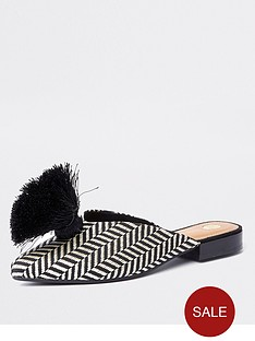 river-island-river-island-pom-zig-zag-print-slip-on-shoes