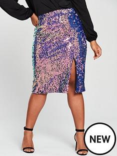 lost-ink-plus-sequin-pencil-skirt-multi