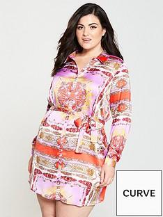 ax-paris-curve-scarf-print-shirt-dress