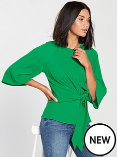 ax-paris-knot-front-blouse-jade-green