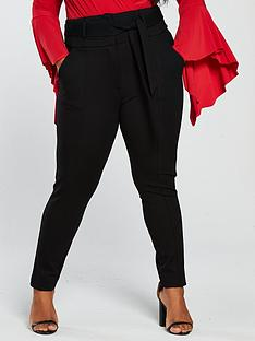 lost-ink-plus-high-waist-skinny-trouser-withnbsptie-black