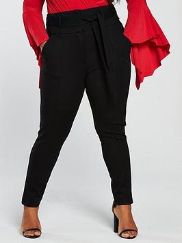 lost-ink-plus-high-waist-skinny-trouser-withnbsptie-black