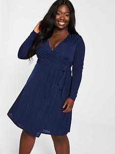 lost-ink-plus-ribbed-wrap-dress-navynbsp