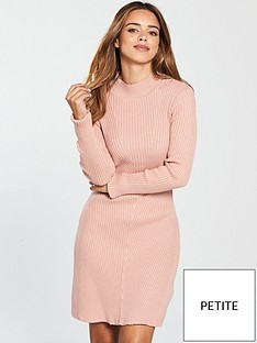 lost-ink-petite-fit-and-flare-knitted-dress-blushnbsp