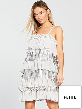 lost-ink-petite-embellished-layered-shift-dress-greynbsp