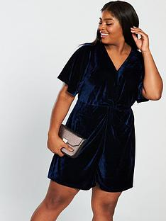 lost-ink-plus-twist-front-velvet-playsuit-in-velvet-navynbsp