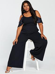 lost-ink-plus-wide-leg-jumpsuit-with-sequin-sleeves-navy