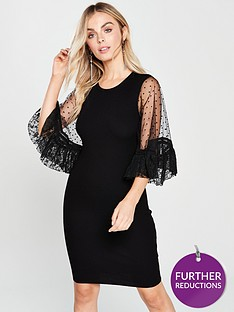 lost-ink-petite-lace-volume-sleeve-dress-black