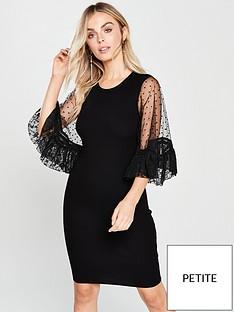 lost-ink-petite-lace-volume-sleeve-dress-black