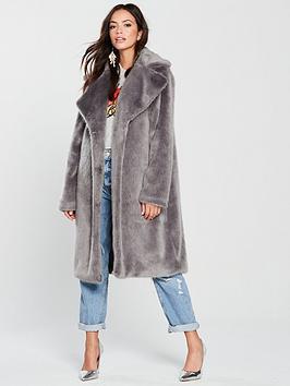 lost-ink-longline-faux-fur-coat-grey