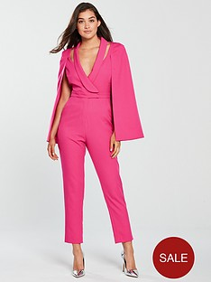 e39fe9e196d Lavish Alice Lavish Alice Cape Blazer Tailored Jumpsuit - Pink