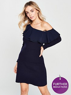 lost-ink-petite-ruffle-fit-and-flare-dress-navy