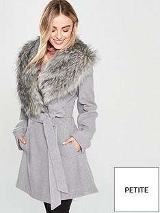 lost-ink-petite-skirted-shawl-faux-fur-collar-coat-grey