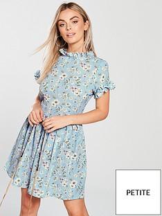 ax-paris-petite-high-neck-ditsy-print-dress-blue