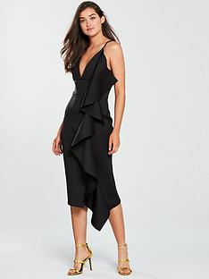 lavish-alice-scuba-asymmetric-draped-frill-midi-dress-black