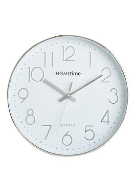 hometime-round-plastic-wall-clock-chrome-raised-numbers-30cm