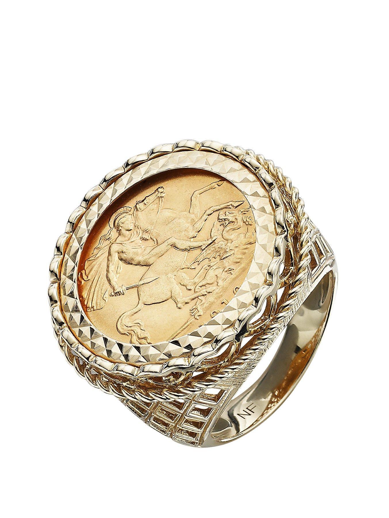 Love GOLD 9 Carat Yellow Gold Half Sovereign Mens Ring