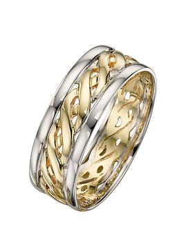 Love GOLD Love Gold 9 Carat 2 Colour Gold Celtic Wedding Band 7Mm Picture