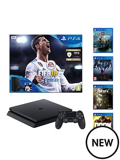 playstation-4-500gbnbspconsole-with-fifanbsp18-god-of-war-fallout-4-doom-and-prey-plus-optional-extra-wireless-controller-andor-12-months-playstation-network