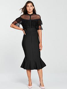 forever-unique-bandage-cape-bodycon-midi-dress-black