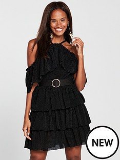 forever-unique-forever-unique-frill-layer-dress-with-belt