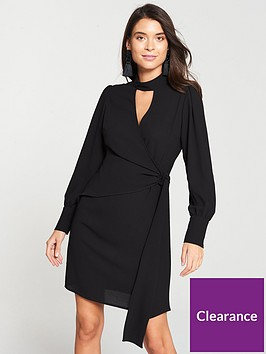 v-by-very-choker-wrap-dress-black
