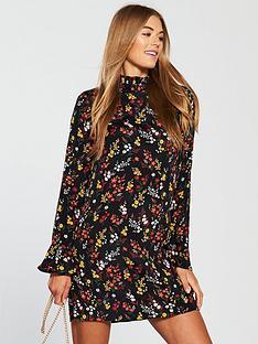 v-by-very-high-neckline-tunic-dress-floral-print