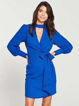 v-by-very-choker-wrap-dress-cobalt