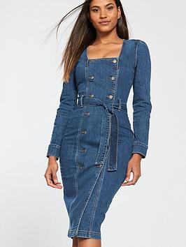 v-by-very-tie-waist-double-button-denim-dress