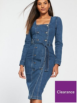 v-by-very-tie-waist-double-button-denim-dress