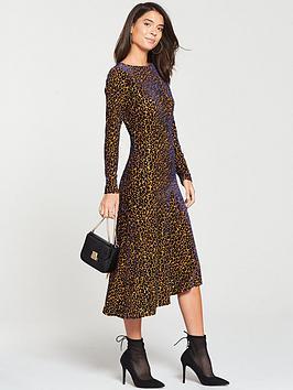 v-by-very-textured-midi-dress-leopard-print