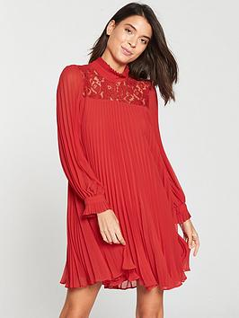 v-by-very-pleated-lace-tunic-red