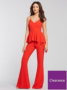 097b27a1fb5 Michelle Keegan Peplum Wide Leg Jumpsuit - Red
