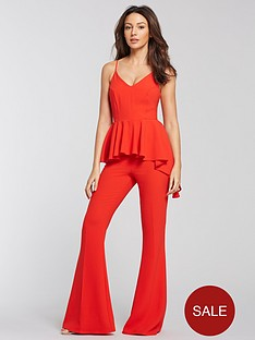 michelle-keegan-peplum-wide-leg-jumpsuit-red